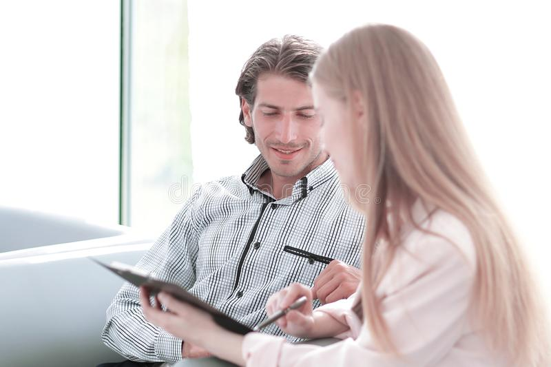 Closeup.employees discussing working paper. office life photo with copy space stock photography