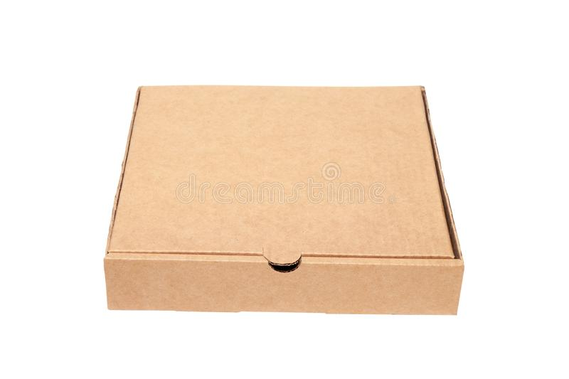 Closeup of empty closed cardboard beige pizza boxes. Concept order of fast delivery food, meal, dinner, lunch from Italian cuisine. Restaurant in carton stock images