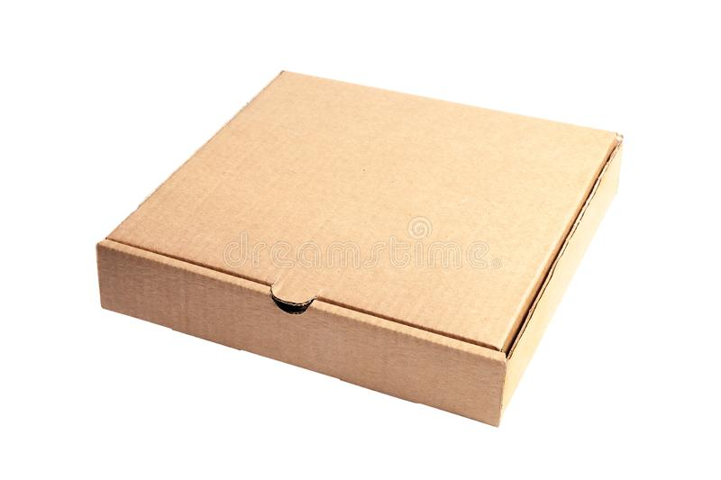 Closeup of empty closed cardboard beige pizza boxes. Concept order of fast delivery food, meal, dinner, lunch from Italian cuisine. Restaurant in carton royalty free stock photo