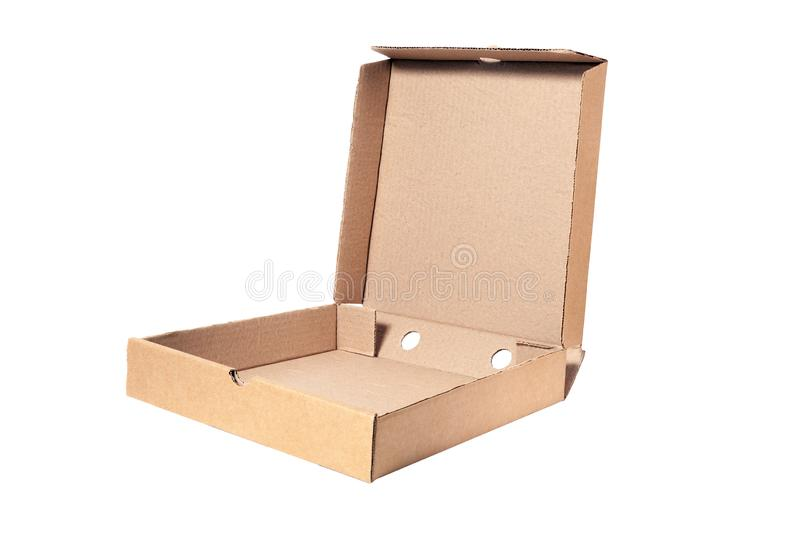 Closeup of empty open cardboard beige pizza boxes. Concept order of fast delivery food, meal, dinner, lunch from Italian cuisine. Restaurant in carton stock photo