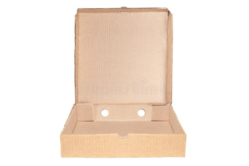 Closeup of empty open cardboard beige pizza boxes. Concept order of fast delivery food, meal, dinner, lunch from Italian cuisine. Restaurant in carton stock images