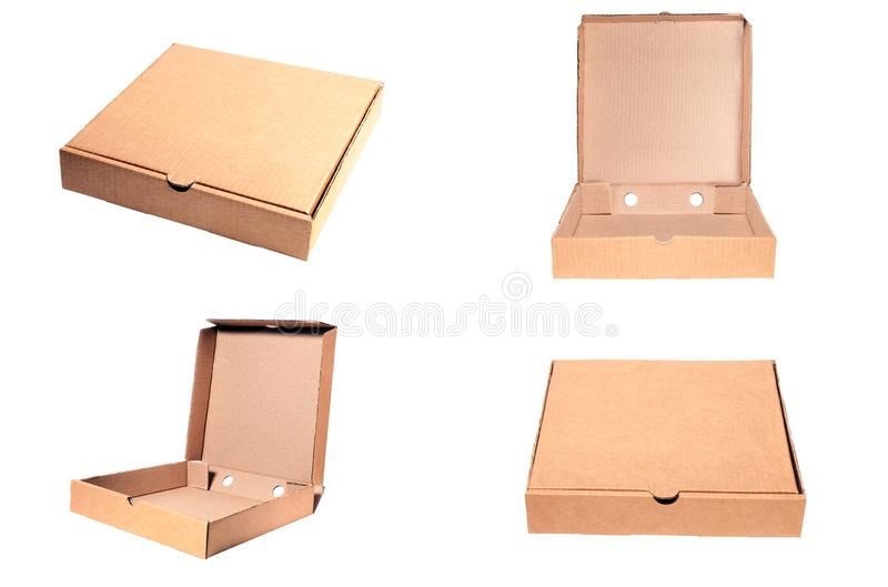 Closeup of empty open and closed cardboard beige pizza boxes. Concept order of fast delivery food, meal, dinner, lunch from. Italian cuisine restaurant in royalty free stock photos