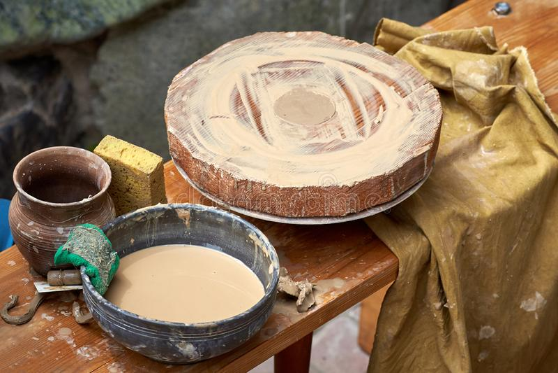 Closeup of an empty pottery wheel stock image
