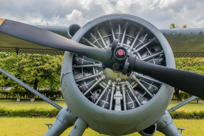Closeup of engine and front cowling. Closeup of radial engine and front cowling of De Havilland U-6 military training aircraft on display in public park stock photos