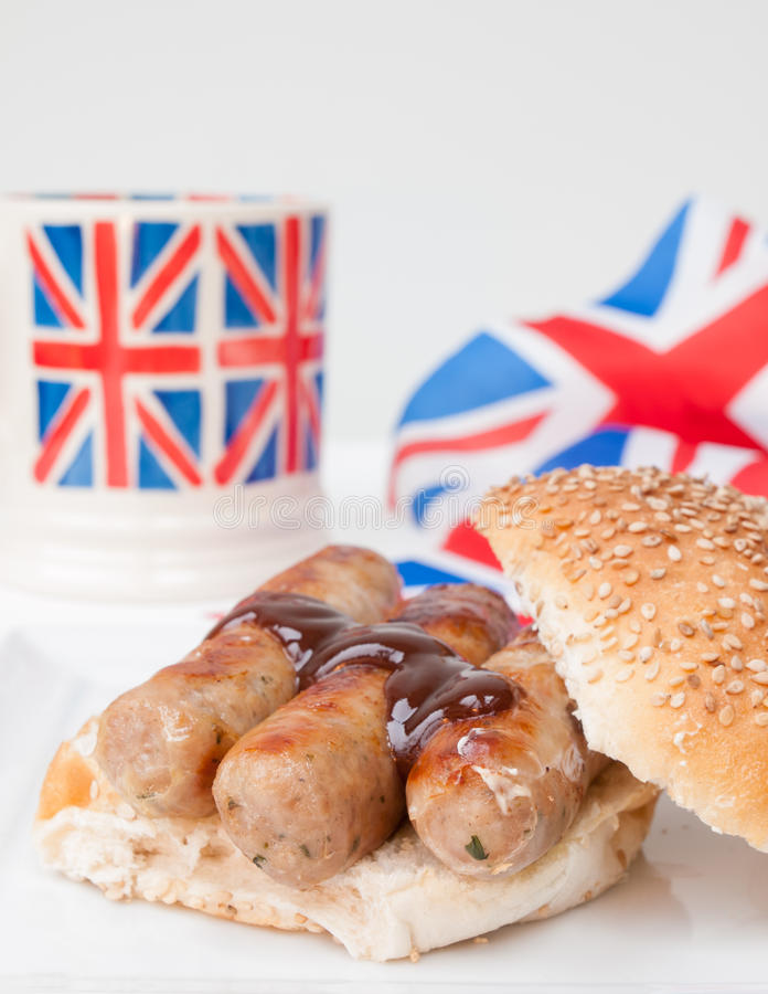 Download Closeup Of English Sausage Sandwich With, Brown Sauce, Cup Of Te Stock Photo - Image: 38517678