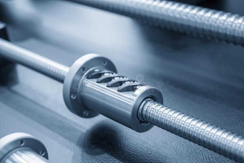 Closeup enheten för reservdelar för ledningsskruv med att uthärda av CNC-maskinen royaltyfri foto