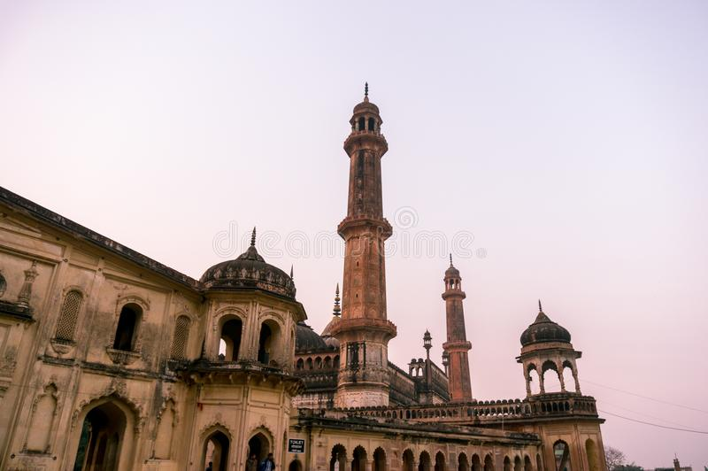 Closeup of the entrance gate of the asfi mosque in lucknow. Lucknow, India - 3rd Feb 2018: Lucknow, India: 3rd Feb 2018: The entrance and gardens of the bara royalty free stock images