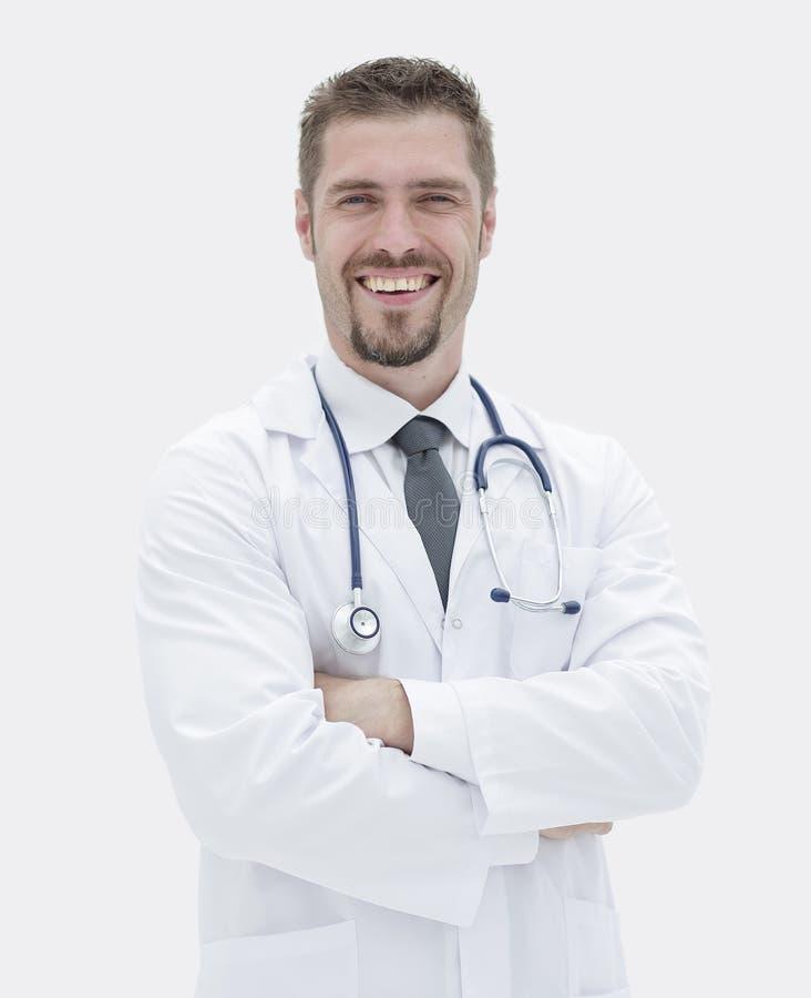 closeup erfaren terapeut med en stetoskop arkivbild