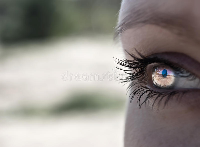Closeup of eye with abstract stock photography