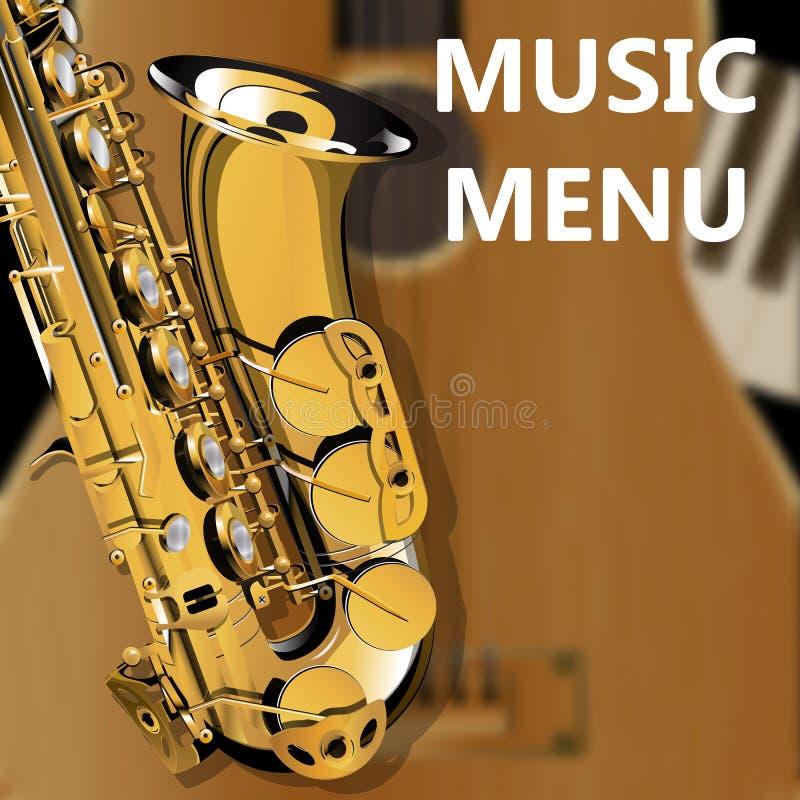 Closeup för akustisk gitarr och saxofon stock illustrationer