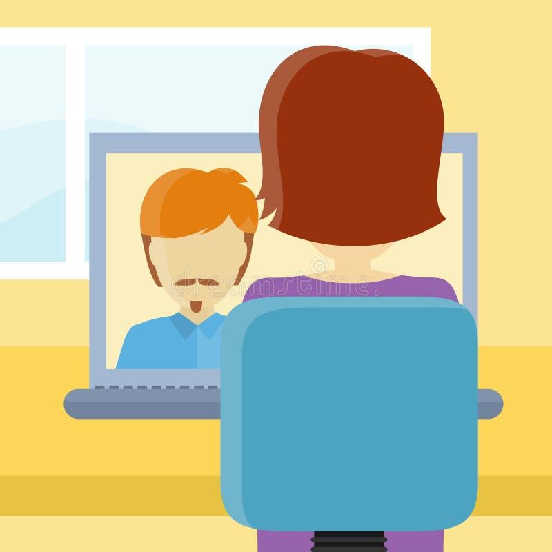 Closeup för bakre sikt av en kvinna på datoren royaltyfri illustrationer