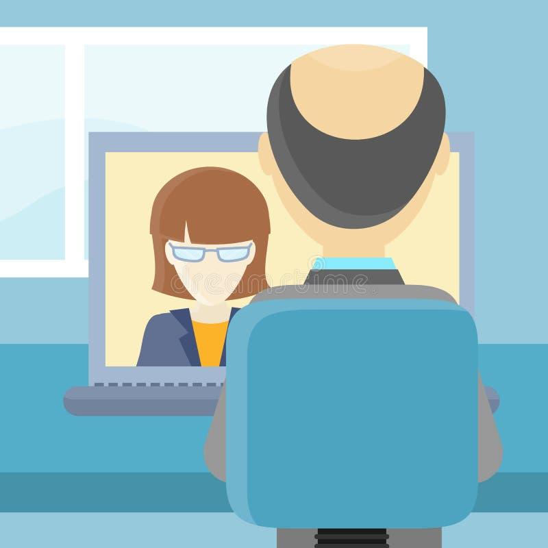Closeup för bakre sikt av en man på datoren royaltyfri illustrationer