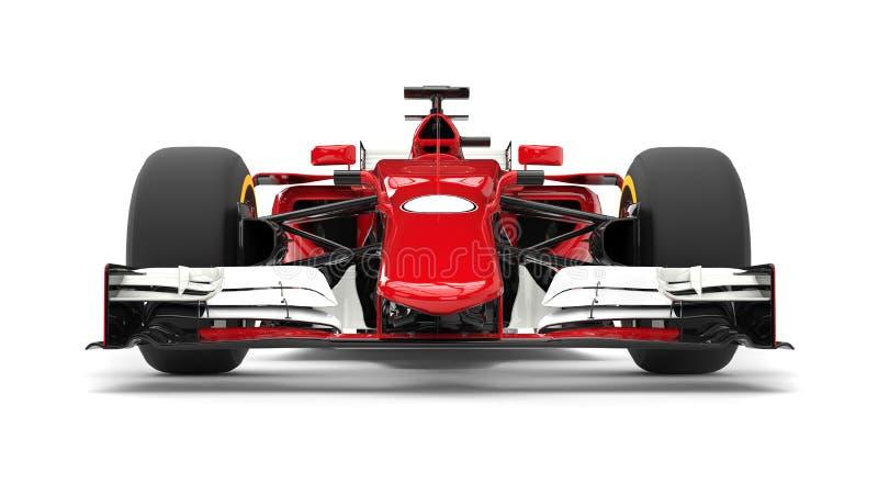Closeup för främre sikt för röd modern formel tävlings- bil- vektor illustrationer