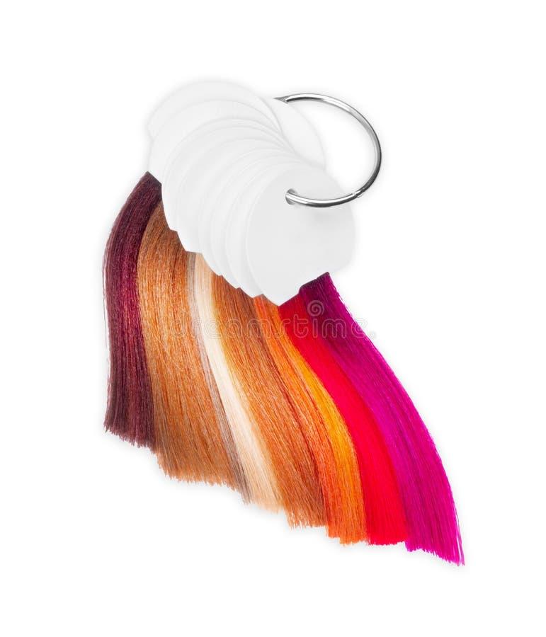 Closeup för hårfärgpalett som isoleras på vit bakgrund royaltyfri foto