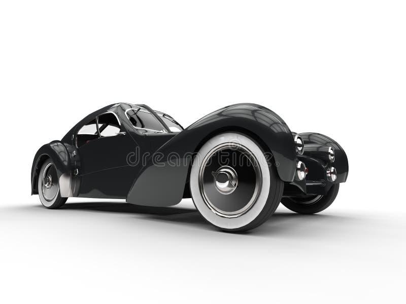 Closeup för hjul för svart tappningbegrepp bil- stock illustrationer