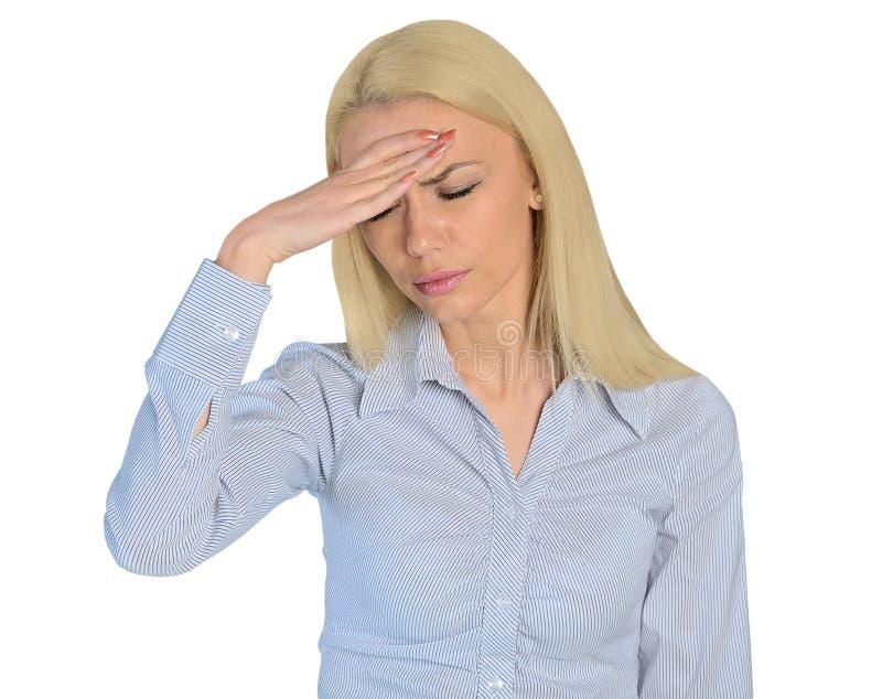 Closeup för huvudvärk för affärskvinna royaltyfri foto