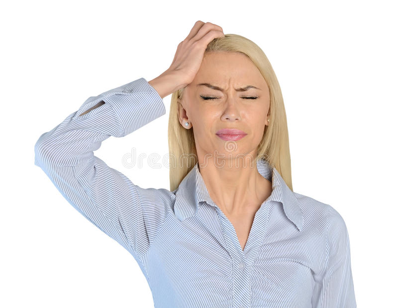 Closeup för huvudvärk för affärskvinna arkivbild