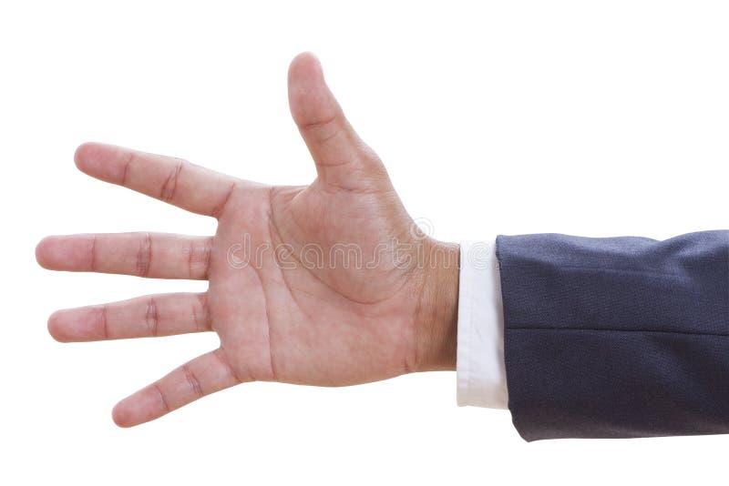 closeup för nummer fem för handgest arkivbild
