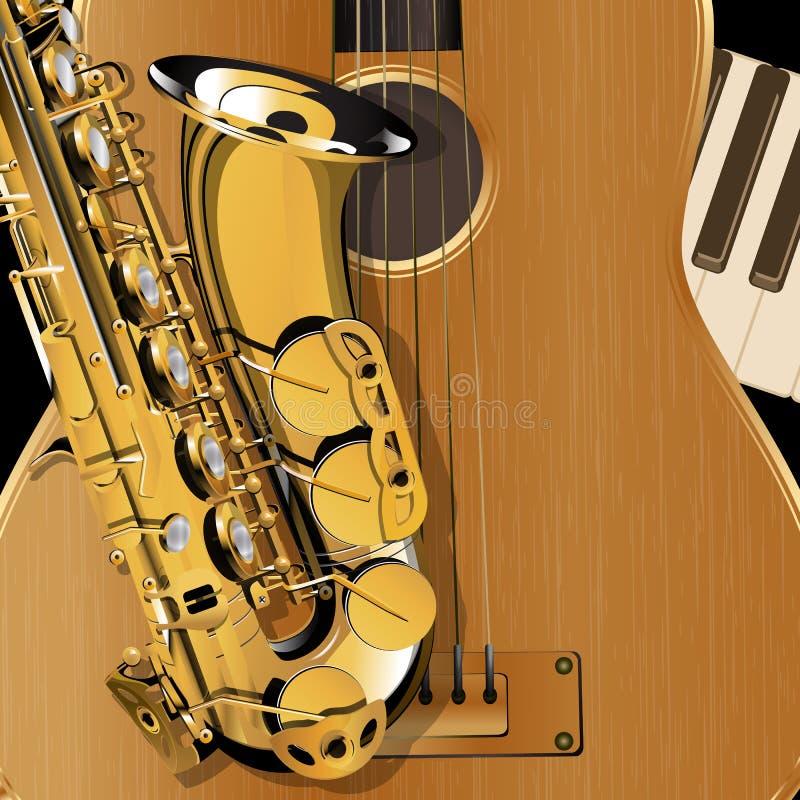 Closeup för saxofon och för akustisk gitarr royaltyfri illustrationer