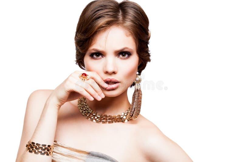 Closeup för stående för ung kvinna för skönhet Härlig modell Girl Face arkivfoto