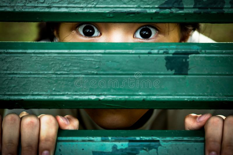 Closeup of face and eyes of sick girl,asian little child sneak peek,peeping spying eyes,suspiciously young woman feeling afraid royalty free stock photos