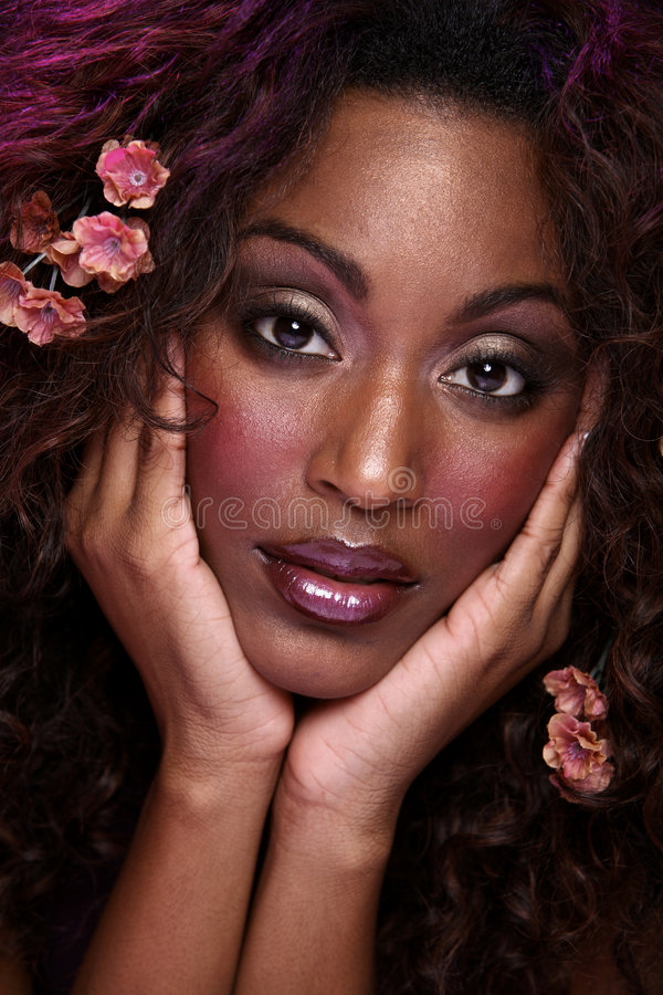 Download Closeup Face Flower In Hair Stock Image - Image: 3497141