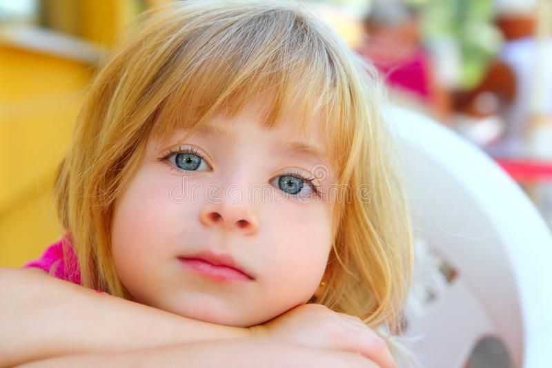 Closeup face little blond girl portrait smile royalty free stock photography