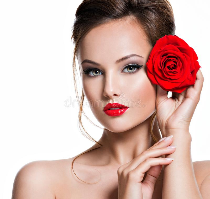 Free Closeup Face Of Beautiful Woman With Red Rose  Bright Makeup Royalty Free Stock Photography - 166498117