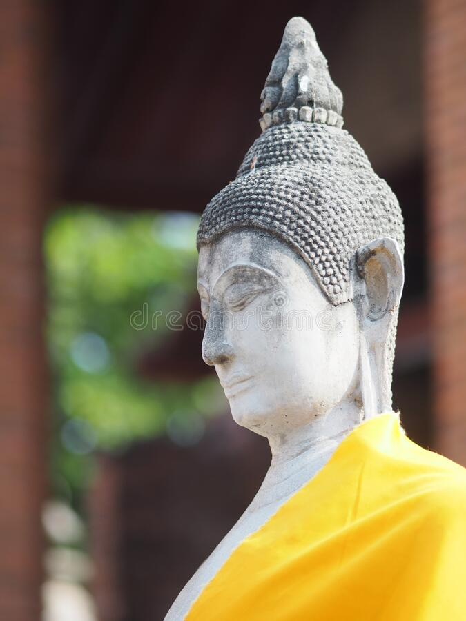Stucco Buddha images in the Ayutthaya period enshrined at the Wat Yaichaimongkol, Buddhist Temple. Closeup face Stucco Buddha images in the Ayutthaya period royalty free stock photos