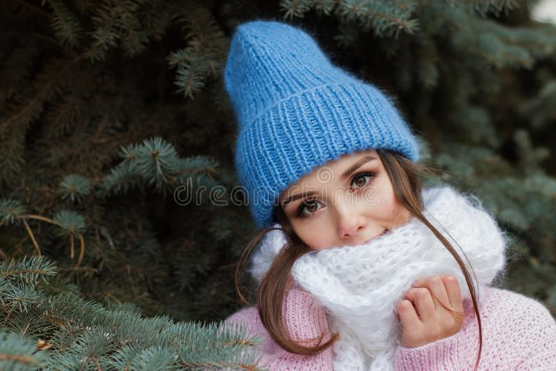 Closeup face of a young Smiling woman enjoying winter wearing knitted scarf and hat. royalty free stock image