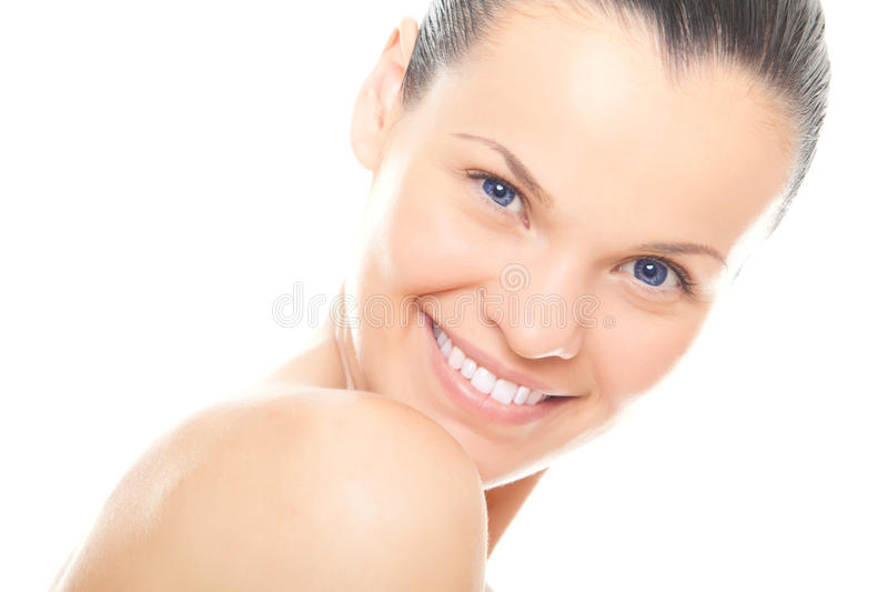 Closeup face young woman with healthy clean skin