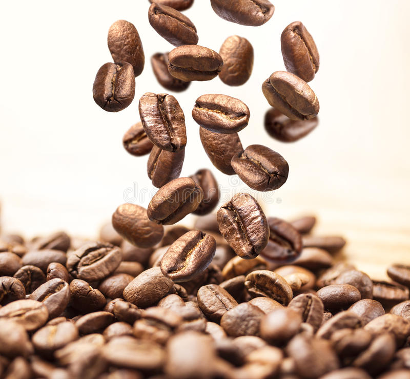 Closeup of falling or flying coffee beans on white stock photos