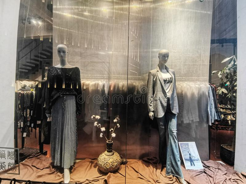 Closeup of fashion shop window in wuhan city. Hubei province, china stock photography