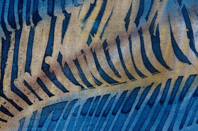 Closeup of feathers, hot batik, background texture, handmade on silk royalty free stock photos