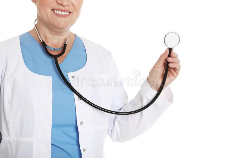 Closeup of female doctor with stethoscope. Medical staff. Closeup of female doctor with stethoscope isolated on white. Medical staff royalty free stock photos