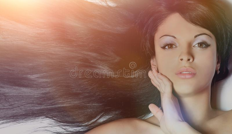 Closeup of a female face. isolated on black. royalty free stock photography