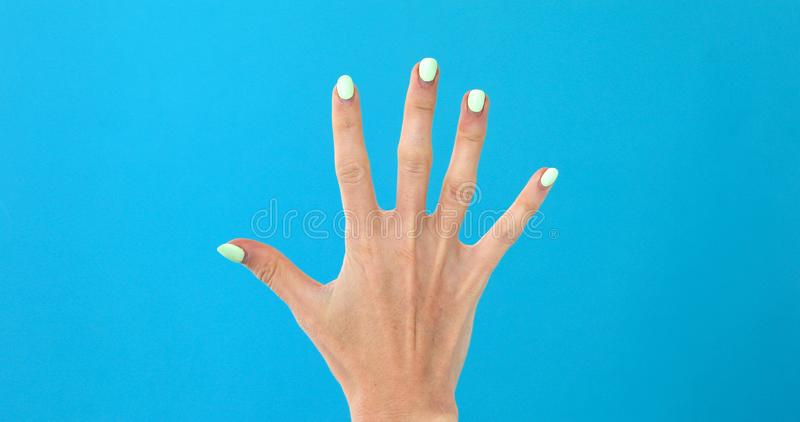 Closeup female hand counting from 0 to 5 royalty free stock photos