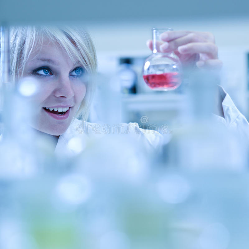 Closeup of a female researcher. Carrying out experiments in a laboratory stock image