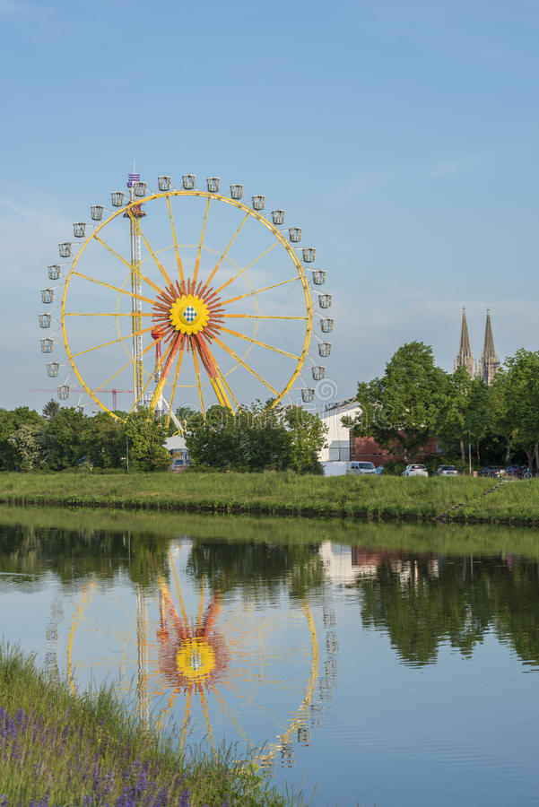 Closeup of the ferris wheel. At the folk festival in regensburg royalty free stock images