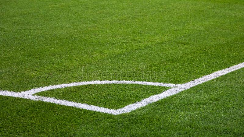 closeup of football soccer field stock images
