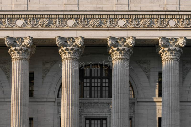 Closeup of four pillars in downtown Albany. Closeup of four pillars of the New York State Education Department building on Washington Avenue in Albany, New York stock photography