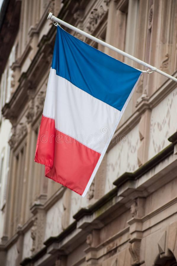 french flag on building facade in Strasbourg royalty free stock photos