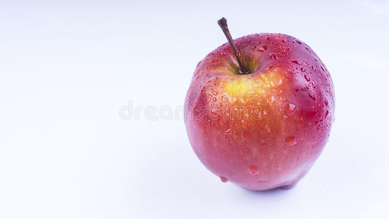 Closeup of apple fruit on white background. Closeup of fresh apple on white background. Apple is healthy fruits for diet stock photos
