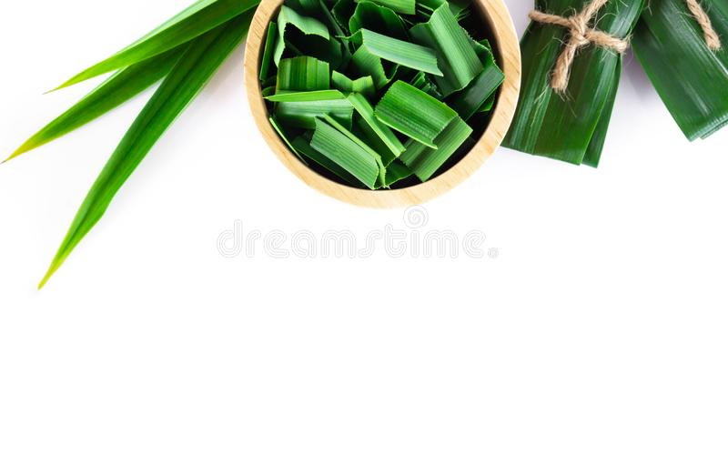 Closeup fresh green pandan in wood bowl with copy space on white background, herb and medical concept. Closeup fresh green pandan in wood bowl with copy space on stock images