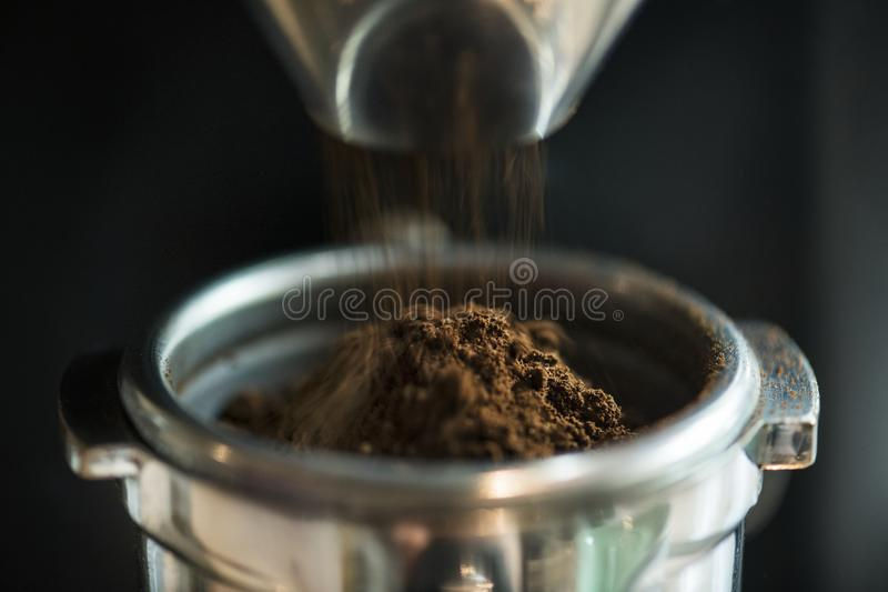 Closeup of fresh grinding coffee culture royalty free stock photos