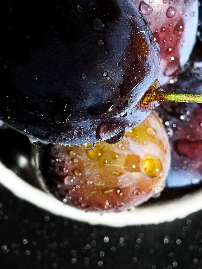 Fresh juicy and sweet purple and yellow plums covered with water drops in white bowl stock photos