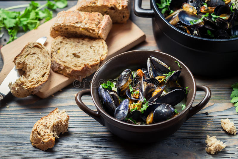 Closeup of fresh mussels prepared at home stock photo