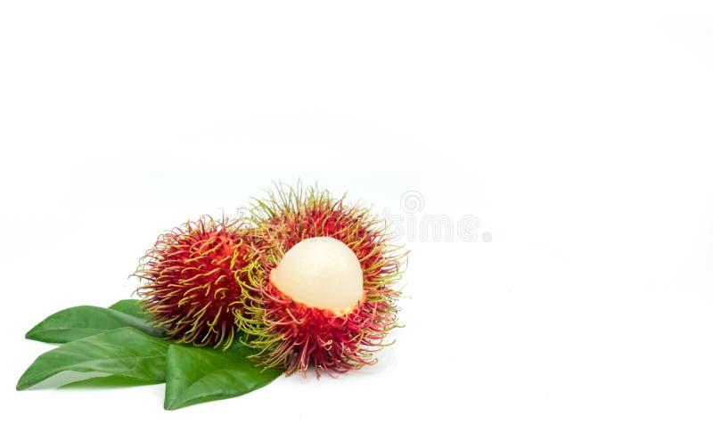 Closeup of fresh red ripe rambutan Nephelium lappaceum stock photo