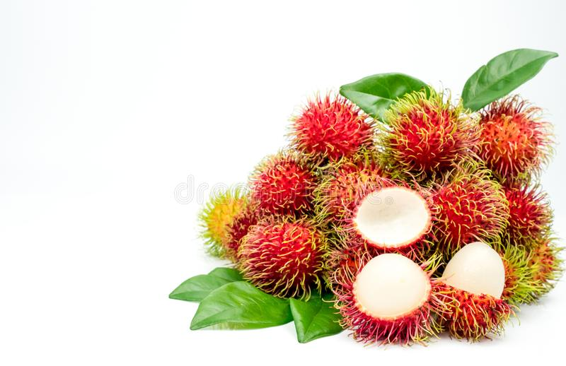 Closeup of fresh red ripe rambutan Nephelium lappaceum. With leaves isolated on white background. Thai dessert sweet fruits. Tropical fruit stock images