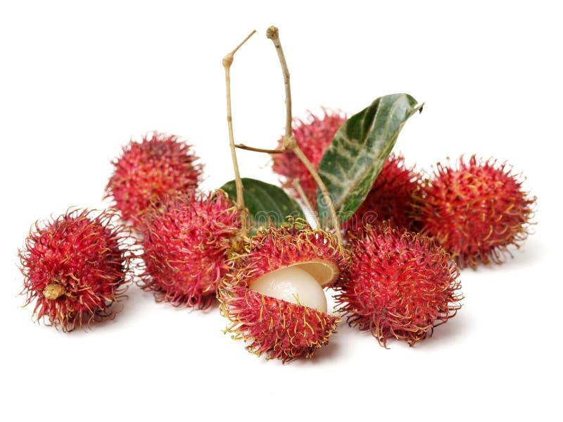 Closeup of fresh red ripe rambutan Nephelium lappaceum with leaves royalty free stock images